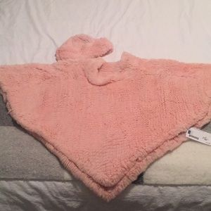 NWT/Knitted Rabbit Poncho w/matching beanie hat